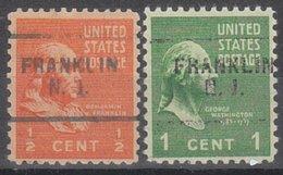 USA Precancel Vorausentwertung Preo, Locals New Jersey, Franklin 703, 2 Diff. - United States