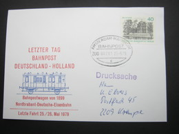 Bahnpost:  1979 , AMSTERDAM - MANNHEIM    , Klarer   Stempel Auf Beleg - BRD