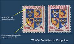 """FR Variétés YT 954 """" Blason Du Dauphiné """" Neuf** Couleurs Très Décalées - Varieties: 1950-59 Mint/hinged"""