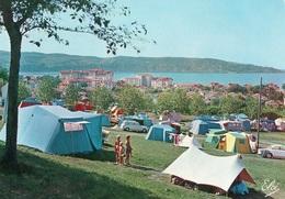 Hendaye Le Camping Sascoénéa Vue Sur La Plage Au Fond L'Espagne Tentes - Hendaye