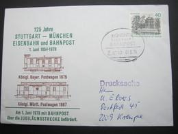 Bahnpost:  1979 , MÜNCHEN - STUTTGART    , Klarer   Stempel Auf Beleg - BRD