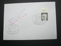 Bahnpost:  1974 , ULM - FRIEDRICHSHAFEN   , Klarer   Stempel Auf Beleg - BRD