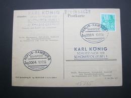Bahnpost:  1956 ,  BERLIN - HAMBURG   , Klarer   Stempel Auf Beleg - BRD