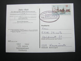 Bahnpost:  1992 , HAMBURG   , Klarer   Stempel Auf Beleg - [7] República Federal