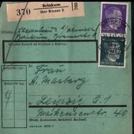 ! 1943 Paketkarte Deutsches Reich, Bremen Brinkum Nach Leipzig, Zusammendruck Hitler - Covers & Documents