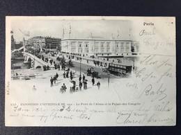 CPA Paris Exposition Universelle 1900 Pont Alma Palais Des Congrès Timbre Type Sage Cachet Rapp - Expositions