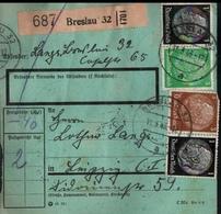 ! 1943 Paketkarte Deutsches Reich, Breslau Nach Leipzig, Zusammendrucke Hindenburg, - Se-Tenant
