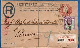 Britain 1905 Registered Envelope Edward VII Lothbury (London) To Antwerpen Belgium 134x83 Mm Type 1902 2002.1503 - 1902-1951 (Koningen)