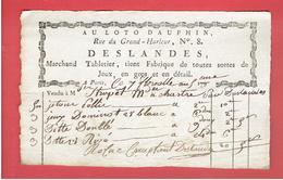 FACTURE 27 04 1801 AU LOTO DAUPHIN 8 RUE DU GRAND HURLEUR A PARIS M. DESLANDES MARCHAND TABLETIER JEUX  JETONS DOMINO - France
