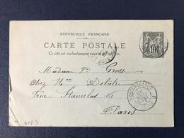 Entier Postal Carte Postale Précurseur Timbre Type Sage Cachet Paris Distribution 1899 - Entiers Postaux