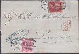Lettre De Malte - Timbres N°26 Et 33 - 1873 - Malte (Ordre De)