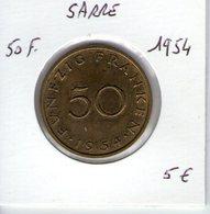Sarre. 50 Franken. 1954 - Sarre