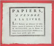 PAPIERS A VENDRE A LA LIVRE 21 JUIN 1804 AU BUREAU DE M. MADELINE PRES SAINT MICHEL A PARIS JEUDI 2 MESSIDOR AN 12 - France
