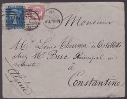 Lettre De Malte - Cachets Algérie / Constantine - Timbres N°27 Et 49 - 1879 - Malte (Ordre De)