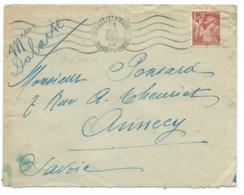 1f50 IRIS SUR ENVELOPPE / MARSEILLE GARE POUR ANNECY /  1944 - Storia Postale
