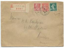 90c BERTHOLET & 10c & 50c SEMEUSE ENVELOPPE RECOMMANDEE / PARIS 67 POUR AMIENS / 1928 - Storia Postale
