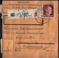 ! 1943 Paketkarte Deutsches Reich, Coswig Nach Leisnig, Zusammendrucke - Deutschland