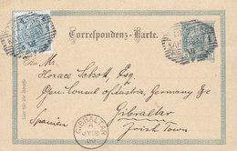 Czech Böhmen Vorläufer Austria Uprated Postal Stationery Ganzsache KARLSBAD 1900 GIBRALTAR Irish Town SCARCE Destination - Entiers Postaux