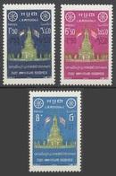 Cambodia 1957 MNH 3v, Ann. Of Buddha, Monument, Religion, Temples, Surcharge - Buddhism