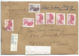 MARIANNE LIBERTE GANDON SUR ENVELOPPE CHARGEE / PARIS POUR ST ISMIER ISERE / 1989 - Storia Postale