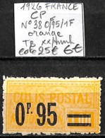 [847684]TB//**/Mnh-c:25e-France 1926 - N° 38, 0f95/1f Orange, TB **/mnh - Neufs
