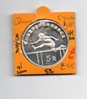 CHINA 5 YUAN 1988 SPORTS HURDLER AG PROOF - China
