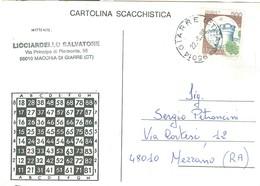 """""""TORNEO DI SCACCHI PER CORRISPONDENZA""""-1988-MACCHIA DI GIARRE (CATANIA)-MEZZANO (RAVENNA)-TIMBRO POSTE GIARRE (CATANIA) - Scacchi"""