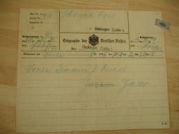 Occupation  Alsace  Telegramme Deutsche Reich Ueckingen Lorraine 1894 Timbre Fiscal - Alsace Lorraine
