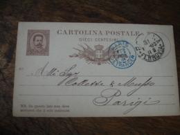 Cachet Entree Bleu Paris Etranger 1885 Sur Entier Postal Italie Italia - Marcophilie (Lettres)