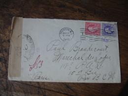1918 Lettre Ouverture Controle Postal Militaire  8 En Provenance De Trenton Etats Unis - Poststempel (Briefe)