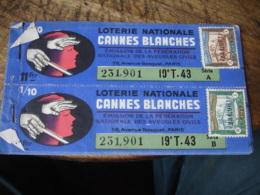 1943 Carnet  Billet Loterie Cannes Blanches - Billets De Loterie