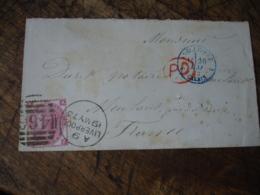 1873 Angleterre Calais  Obliteration Bleue Cachet Entree Sur Lettre De Liverpool 466 - Marcophilie (Lettres)