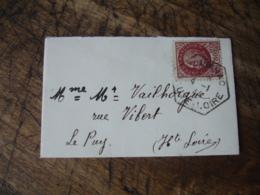 Polignac Recette Auxiliaire Cachet Hexagonal Obliteration Sur Lettre - Postmark Collection (Covers)