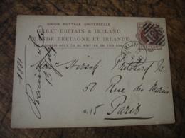 Dublin 186, Stationnery Card Entier Postal One Penny Great Britain Ireland  Pour Paris - 1840-1901 (Victoria)