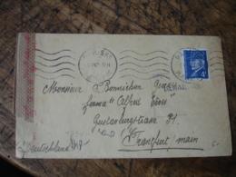 Lettre Ouverture Censure Timbre Petain 4 F Pour Travailleur St O Franckfort - Marcofilie (Brieven)
