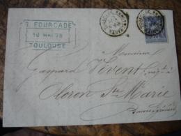 Timbre 15 C Sage Gris  Obliteration Cachet Type 18 Sur Lettre Toulouse - 1849-1876: Klassieke Periode