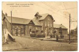 Souvret: Ecole Communale Des Filles Et Monument Des Combattants ( 2 Scans) - Belgien