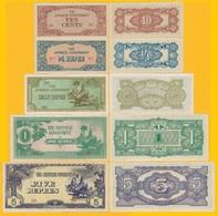 Japanese Occupation (Burma) Set 10 Cents, 1/4, 1/2, 1, 5 Rupees 1942 UNC Banknotes - Billets