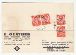 F. Günther Velika Kikinda Company Postcard Posted 1939 To Wundsiedel B202015 - Briefe U. Dokumente