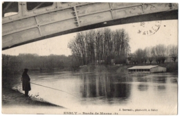 CPA 77 - ESBLY (Seine Et Marne) - Bords De Marne (3) - Ed. J. Sarrazin (petite Animation, Pêcheur) - Esbly