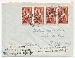 """CAMBODGE - Enveloppe Depuis Saïgon - 1955 - Griffe Noire 7/8/1955 """"Ky Niem De Nhât Chu Niên..."""" - Cambodge"""