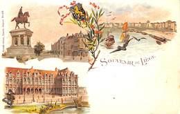 Souvenir De Liège - Carte Litho Colorisée Künzli Frères) - Liege