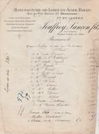 Facture 1880 / Jouffroy-Lançon / Manufacture Limes Acier Fondu / Limes Pour Horlogerie, Graveurs, Scieries / 25 Besançon - 1800 – 1899