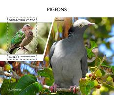 Maldives. 2020 Pigeons. (0913b) OFFICIAL ISSUE - Tauben & Flughühner