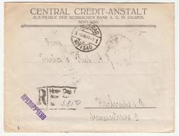 Central Credit-Anstalt, Novi Sad Company Letter Cover Posted Registered 1924 To Karlsruhe B202015 - Lettres & Documents