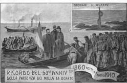 """01373 """"RICORDO DEL 50° ANNIV.RIO DELLA PARTENZA DEI MILLE DA QUARTO"""" ANIMATA. CART NON SPED - Inaugurazioni"""