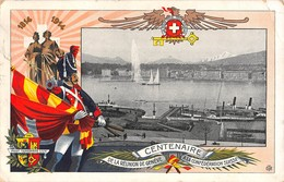 """01374 """"CENTENAIRE DE LA REUNION DE GENEVE A LA CONFEDERATION SUISSE"""" ANIMATA. CART  SPED 1914 - Inaugurazioni"""