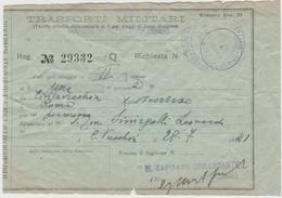 8882.   Biglietto Ferroviario - Trasporti Militari Da Civitavecchia A Roma 1941 - Titres De Transport