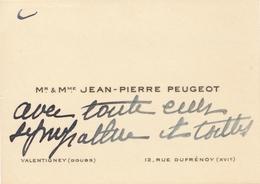 Carte De Visite Condoléances Lean-Pierre Peugeot Automobile Car Voiture - Visiting Cards