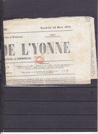 FRANCE 51 SUR JOURNAL LE PROGRES DE L'YONNE- UNE SEULE FEUILLE JOURNAL PROBABLEMENT INCOMPLET - Storia Postale